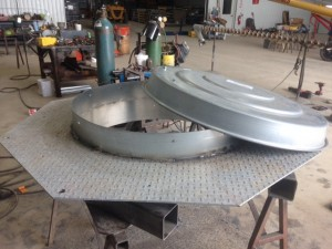 welding and fabricating custom lid for a commercial bin